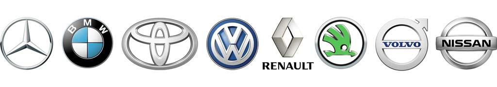 Kombi Logos Automarken Mercedes BMW Toyota VW Renault Skoda Volvo Nissan